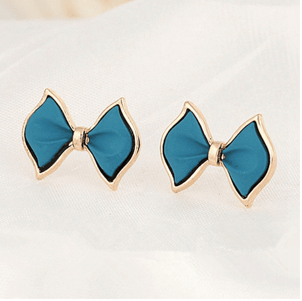 Blue Bow-knot Alloy Ear Stud Earrings - zooomberg