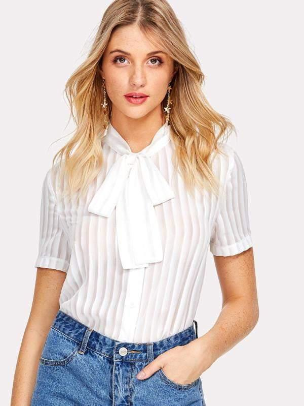 Pure White Tie-Up Blouse - Tops - Zooomberg - Zoomberg