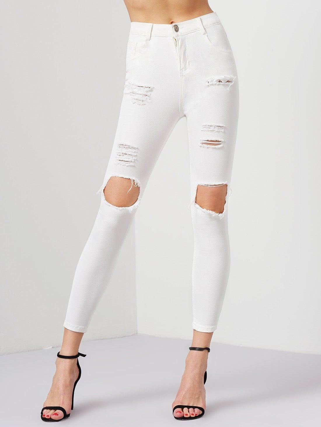 White Ripped Slim Denim Pant - Pants - Zooomberg - Zoomberg