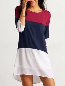 Get Red White Banded Half Sleeve Color Block Dress with RS. 719.00