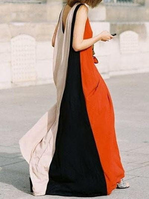 Get Color Block Sleeveless Maxi Dress with RS. 1649.00
