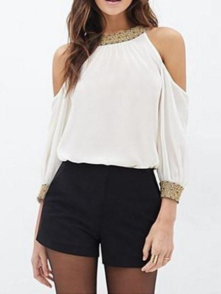 White Cold Shoulder Sequined Chiffon Blouse - Tops - Zooomberg - Zoomberg