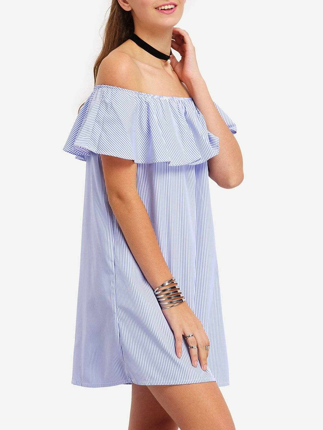 Vertical Striped Ruffled Off-The-Shoulder Dress - zooomberg