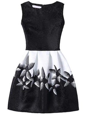Get Abstract Flower Print Fit & Flare Dress With Zipper Back - Black with RS. 774.00