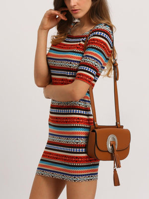 Get Tribal Print U Back Bodycon Dress with RS. 799.00