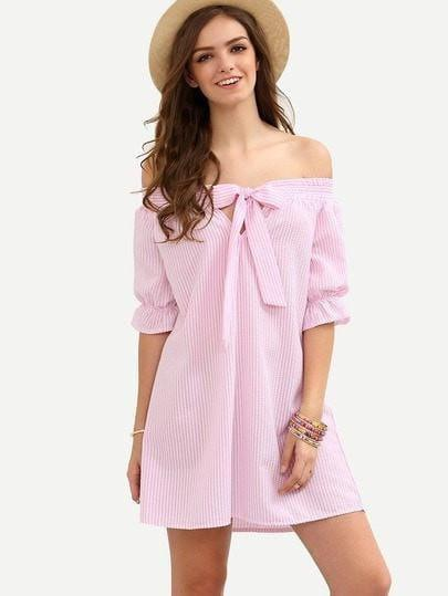 Striped Bow Off The Shoulder Dress - zooomberg