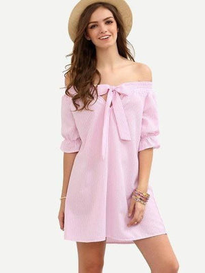 Get Striped Bow Off The Shoulder Dress with RS. 779.00
