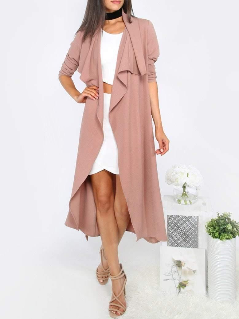 Draped Neck Tie Waist Long Sleeve Outerwear - Jackets - Zooomberg - Zoomberg