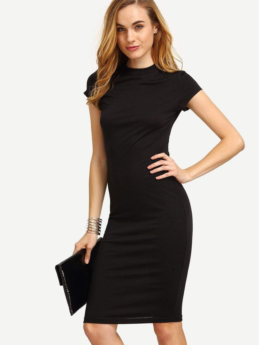 Black Cap Sleeve Crew Neck Sheath Dress - zooomberg