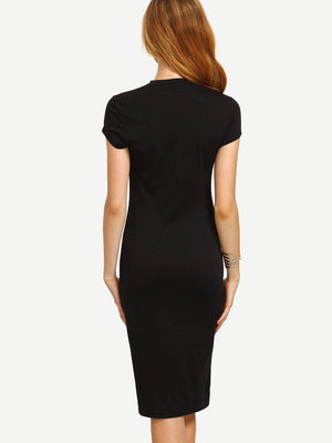 Black Cap Sleeve Crew Neck Sheath Dress - Dresses - Zooomberg - Zoomberg