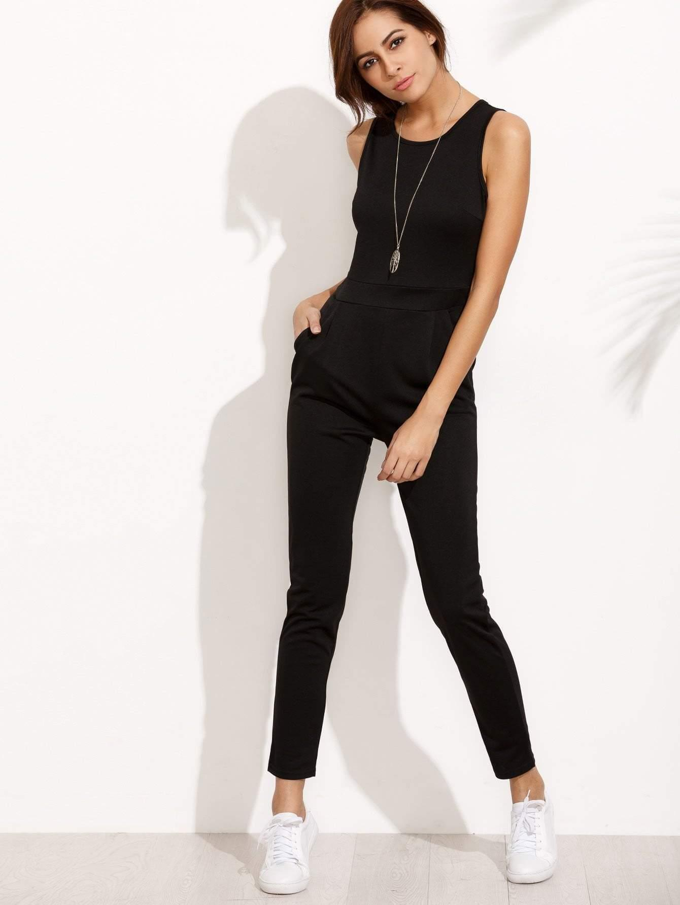 Racer Front Keyhole Back Jumpsuit - zooomberg