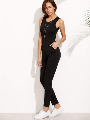 Racer Front Keyhole Back Jumpsuit - Jumpsuits - Zooomberg - Zoomberg