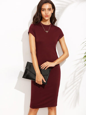 Short Sleeve Knee Length Bodycon Dress - Dresses - Zooomberg - Zoomberg