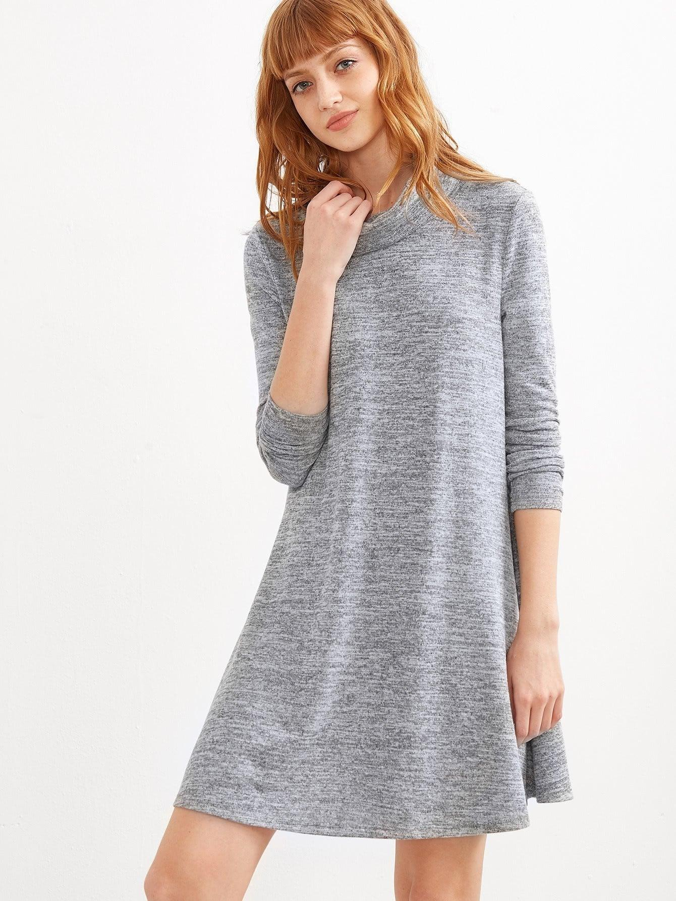 Marled Knit Swing Dress - zooomberg