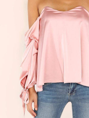 Pink Billow Sleeve Off The Shoulder Top - Tops - Zooomberg - Zoomberg