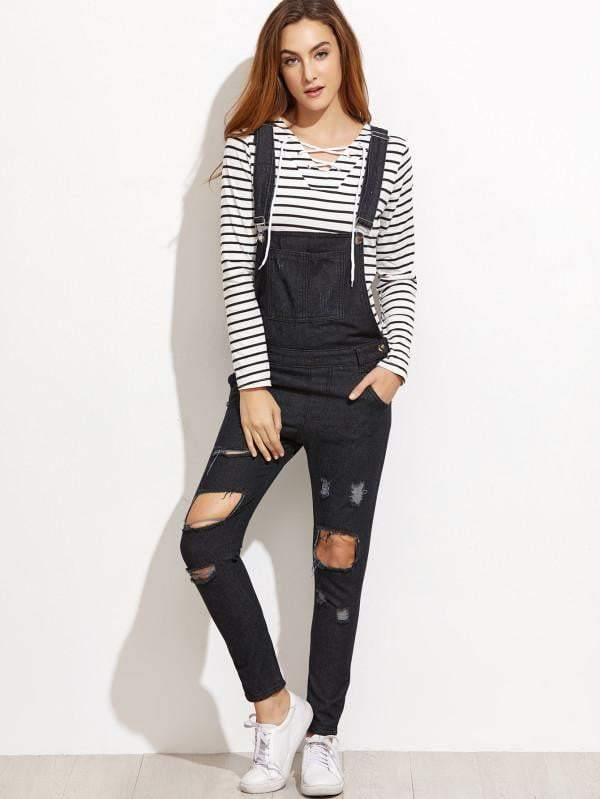 Ripped Overall Jeans - zooomberg
