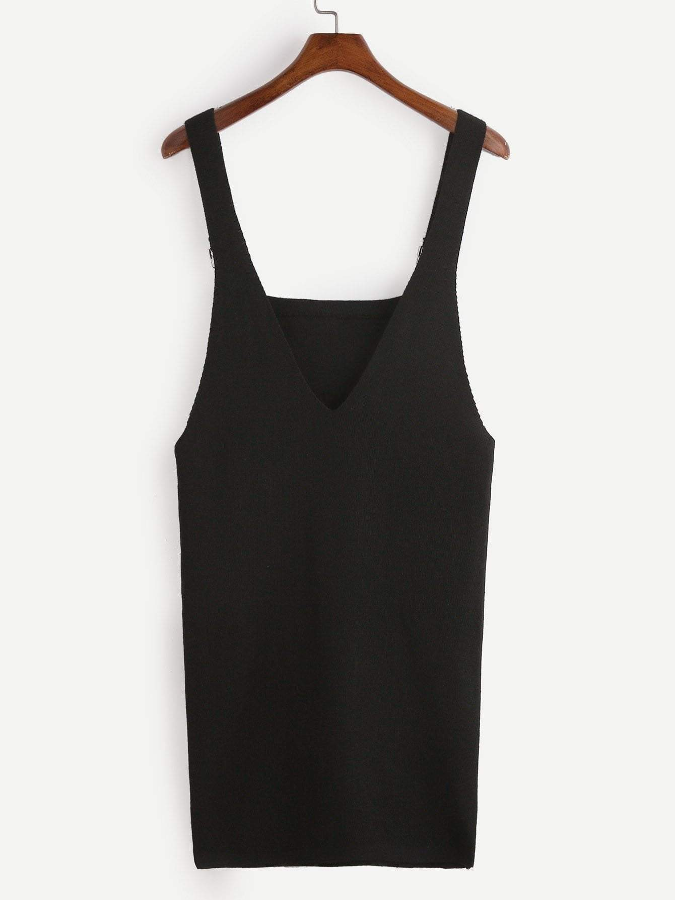 Black Knit Overall Dress With Pockets - zooomberg