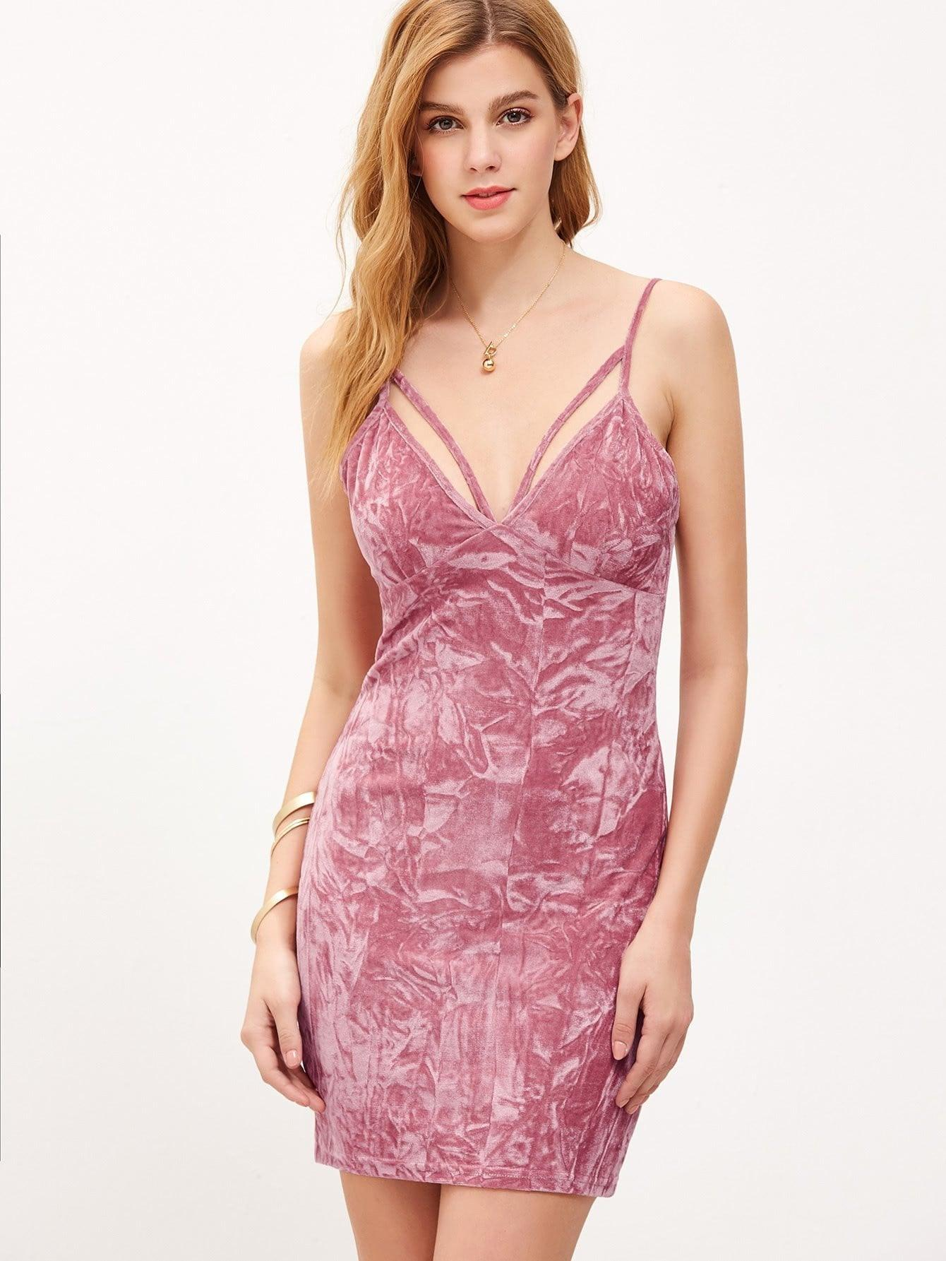 Strappy Plunging V Neckline Crushed Velvet Cami Dress - zooomberg