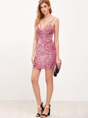 Strappy Plunging V Neckline Crushed Velvet Cami Dress - Dresses - Zooomberg - Zoomberg