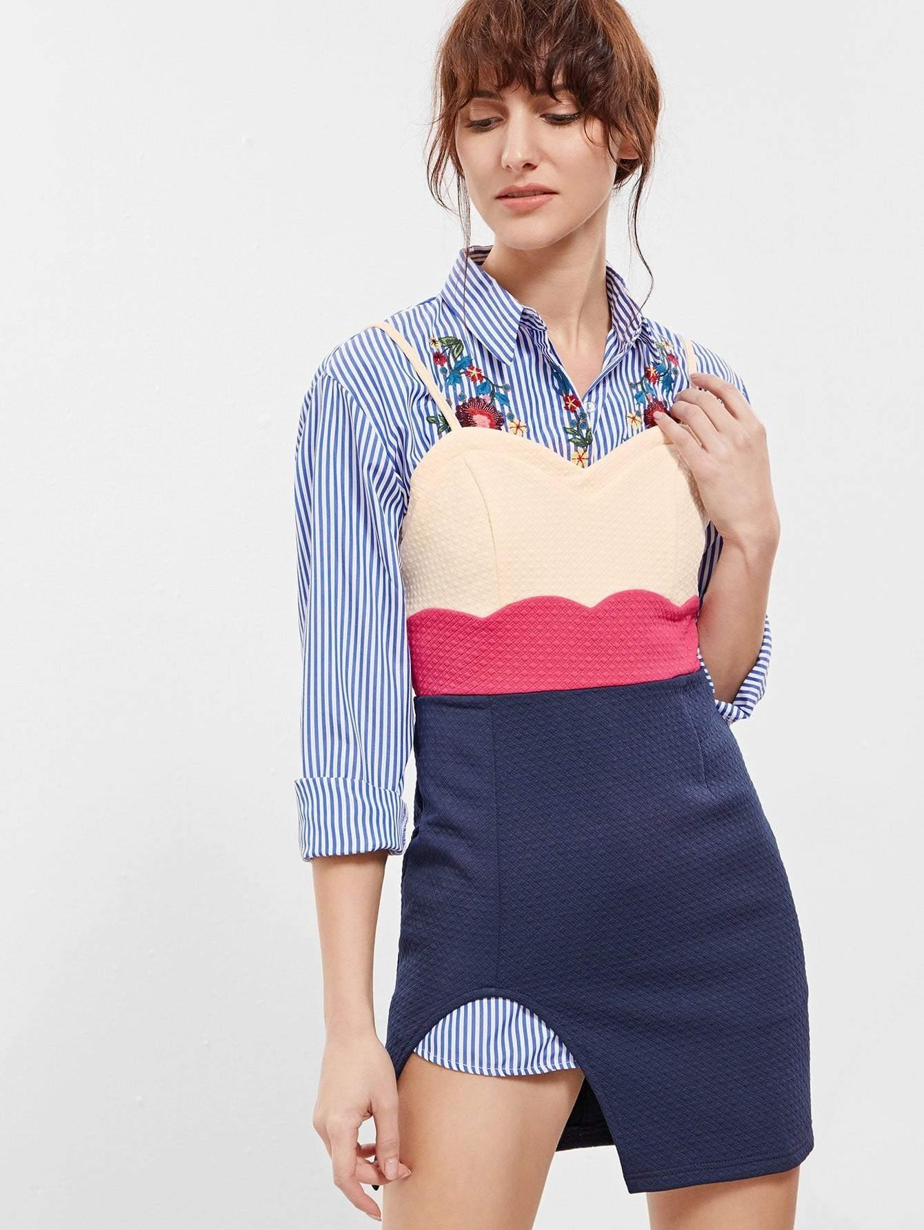 Yellow Navy Slip Spaghetti Strap Color Block Dress