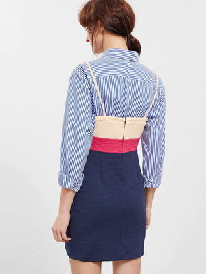 Get Yellow Navy Slip Spaghetti Strap Color Block Dress with RS. 799.00