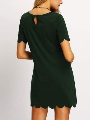 Buttoned Keyhole Back Scallop Dress - Dresses - Zooomberg - Zoomberg