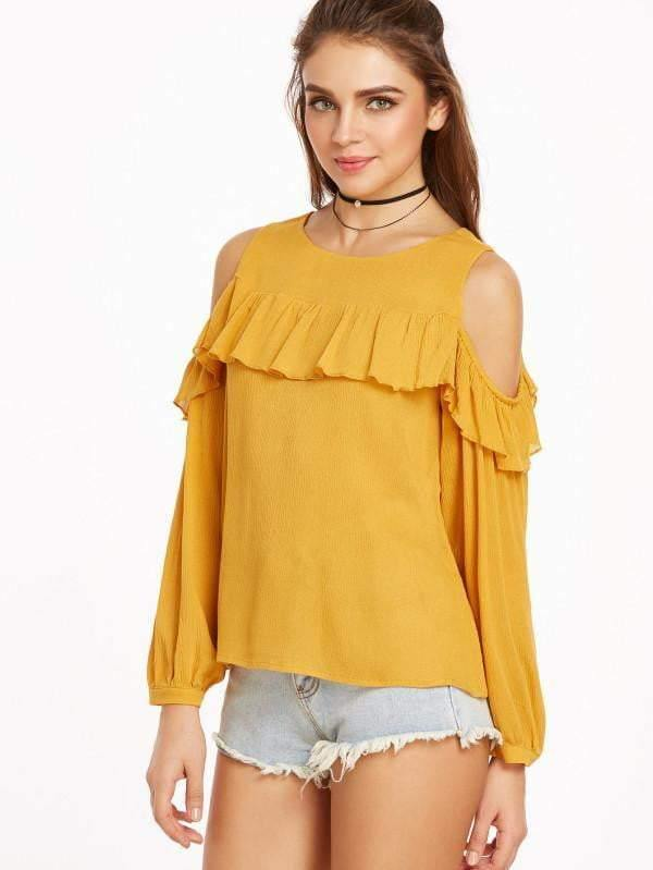 Cold Shoulder Ruffle Trim Buttoned Cuff Crinkle Top - zooomberg
