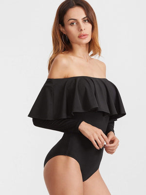 Get Black Two Way Off The Shoulder Ruffle Bodysuit with RS. 1079.00