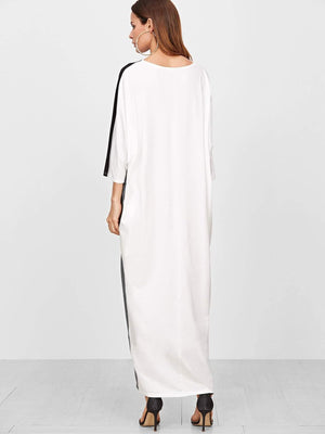 Color Block 3/4 Sleeve Cocoon Tee Dress - Dresses - Zooomberg - Zoomberg