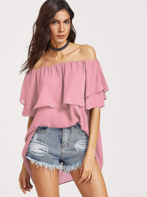 Flounce Layered Neckline High Low Top