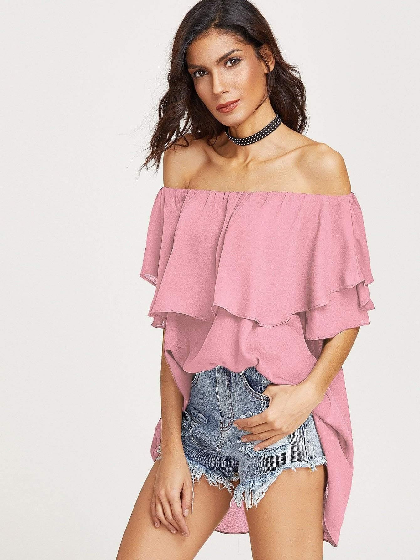 Flounce Layered Neckline High Low Top - Tops - Zooomberg - Zoomberg