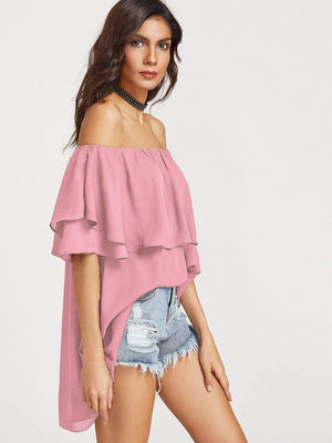 Get Flounce Layered Neckline High Low Top with RS. 779.00