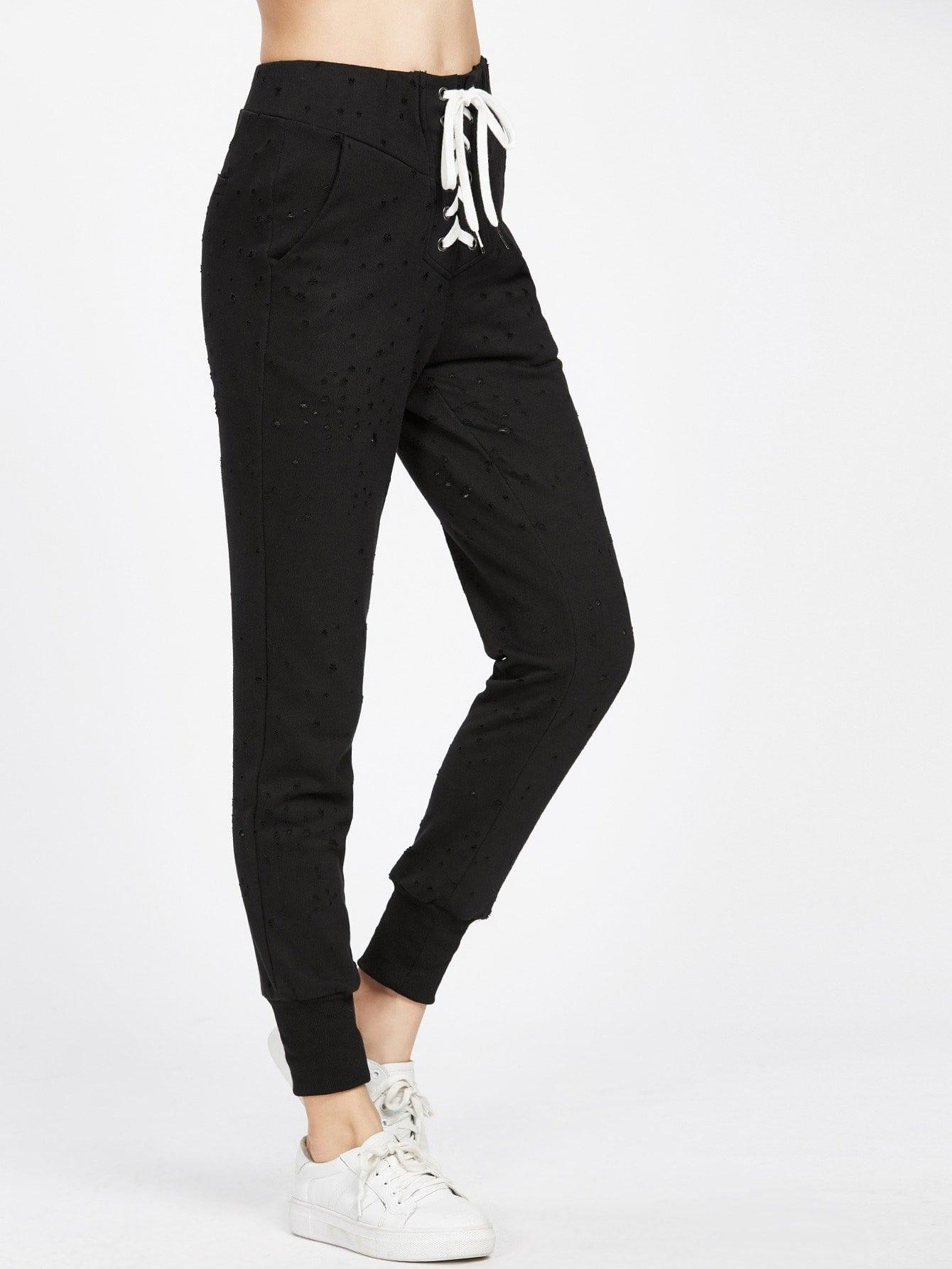 Lace Up Front Distressed Sweatpants - zooomberg