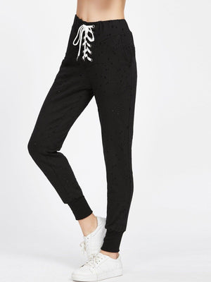 Get Lace Up Front Distressed Sweatpants with RS. 1149.00