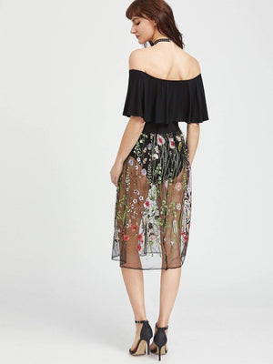 Embroidered Sheer Mesh Skirt - Skirts - Zooomberg - Zoomberg