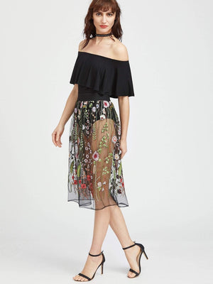 Get Embroidered Sheer Mesh Skirt with RS. 839.00