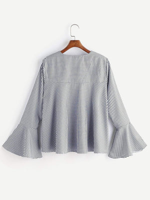 Get V Neckline Gingham Bell Sleeve Top with RS. 659.00