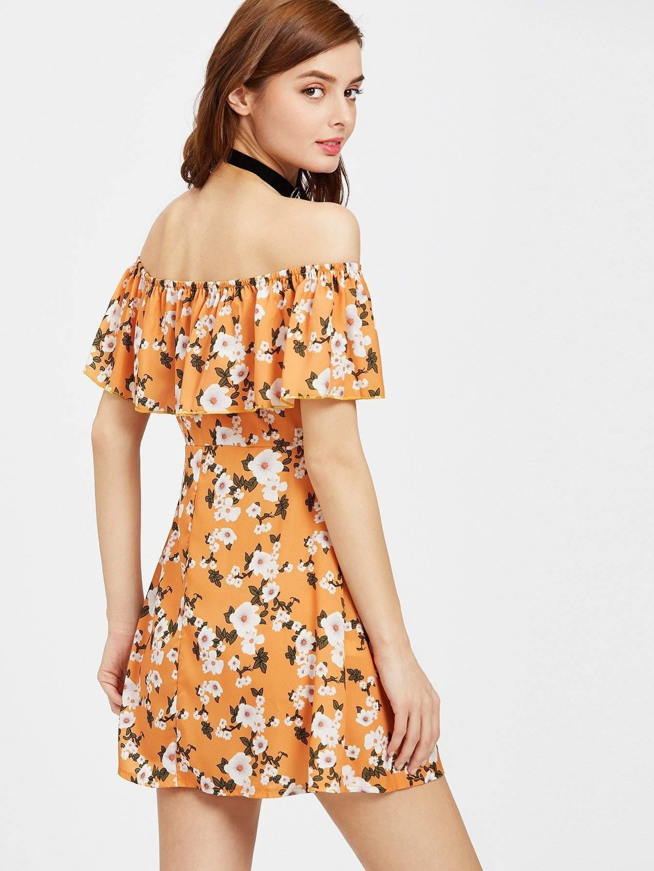 Flounce Layered Neckline Calico Print Button Front Dress - Dresses - Zooomberg - Zoomberg