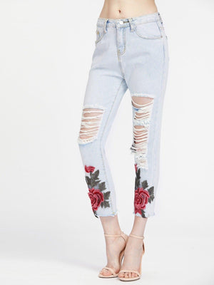 Get Ladder Ripped Appliques Raw Hem Capri Jeans with RS. 799.00