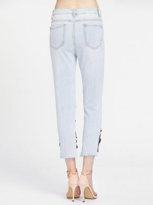 Ladder Ripped Appliques Raw Hem Capri Jeans - Pants - Zooomberg - Zoomberg
