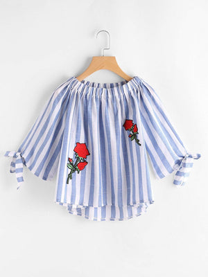 Get Boat Neckline Stripe Appliques Bow Tie Detailed Top with RS. 899.00
