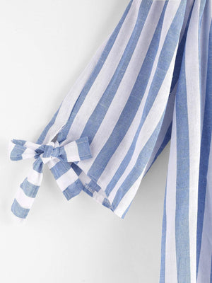 Boat Neckline Stripe Appliques Bow Tie Detailed Top - Tops - Zooomberg - Zoomberg