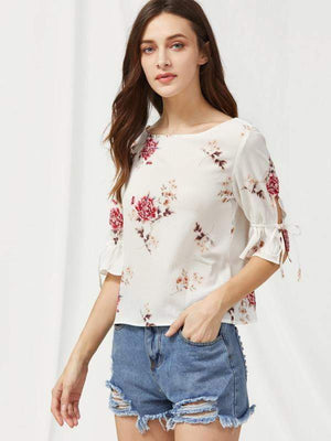 Bell Sleeve Tied V Back Flower Print Top - Tops - Zooomberg - Zoomberg