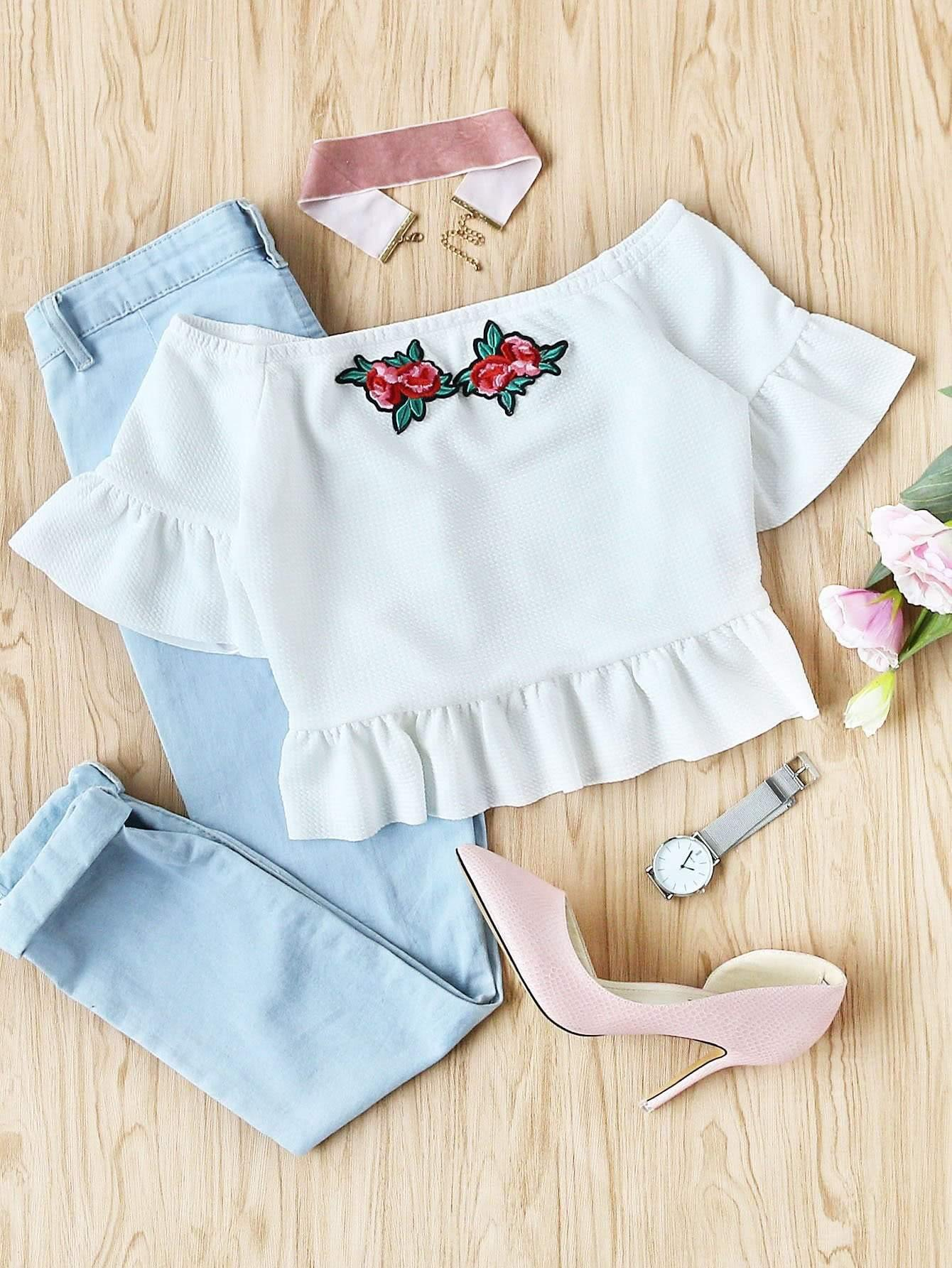 Embroidered Rose Applique Textured Bardot Top - Tops - Zooomberg - Zoomberg