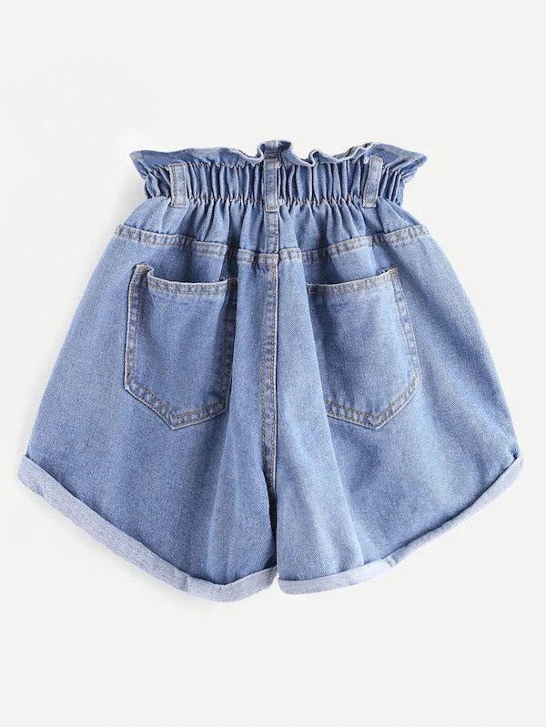Shirred Frill Trim Ripped Rolled Hem Denim Shorts - zooomberg
