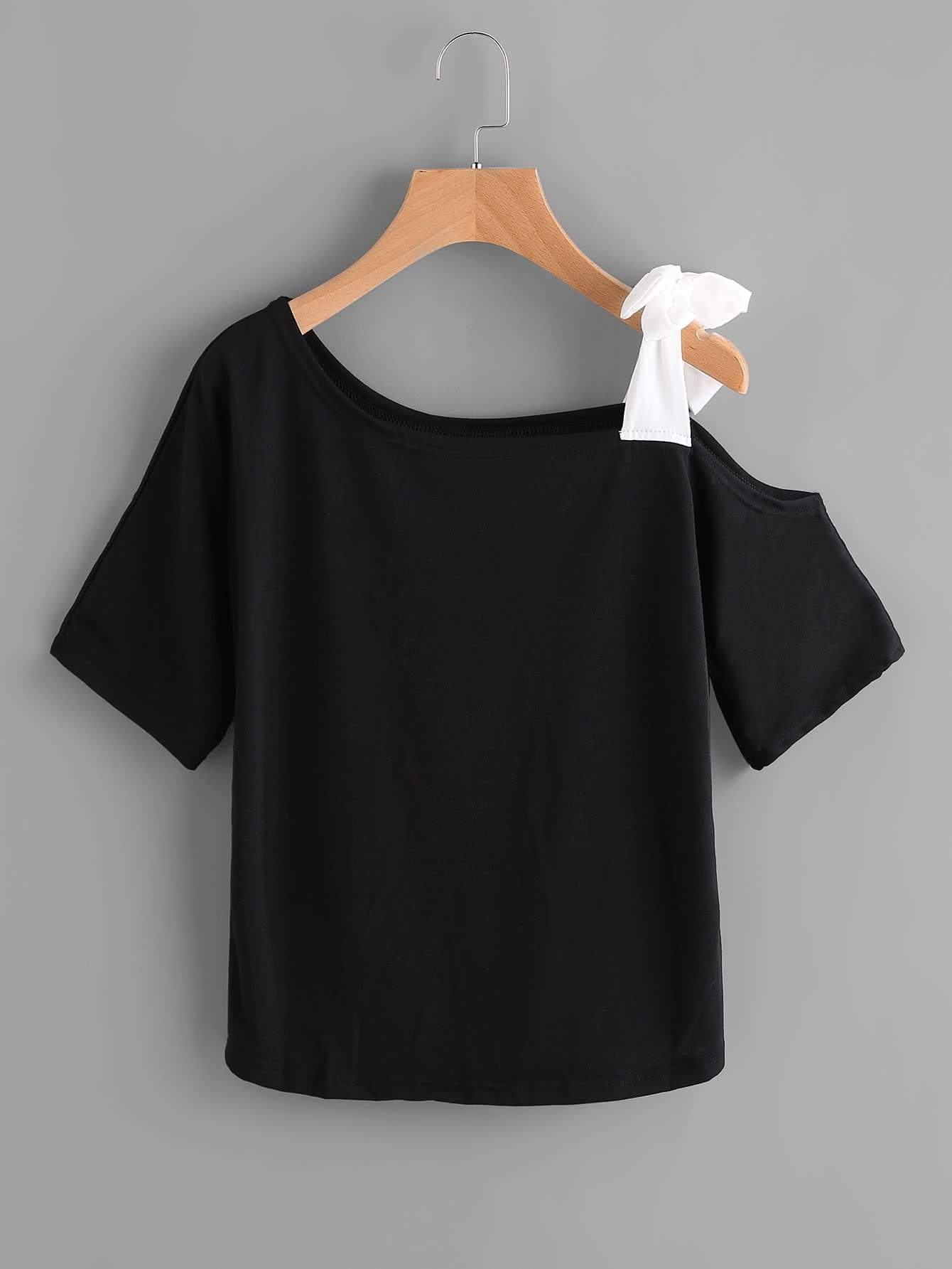 Asymmetrical Bow Tie Shoulder Tee - zooomberg