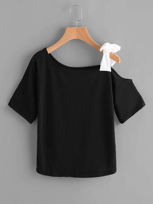 Asymmetrical Bow Tie Shoulder Tee - Tops - Zooomberg - Zoomberg