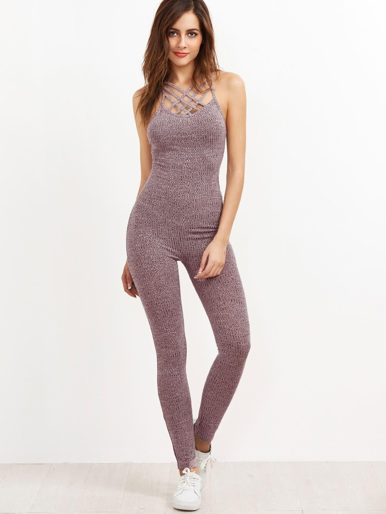 011164ec258 Get Marled Ribbed Knit Caged Neck Unitard Jumpsuit with RS. 869.00
