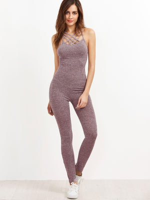 Get Marled Ribbed Knit Caged Neck Unitard Jumpsuit with RS. 869.00