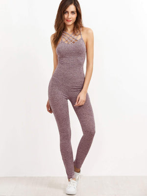 Marled Ribbed Knit Caged Neck Unitard Jumpsuit - Jumpsuits - Zooomberg - Zoomberg